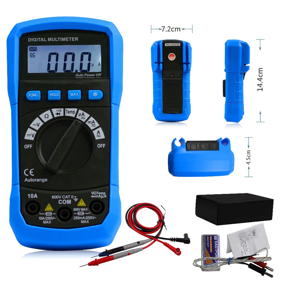 Гаджет  AideTek auto range multimeter ohm AC DC buzz temp backlight max vs FLUKE ADK02 None Инструменты