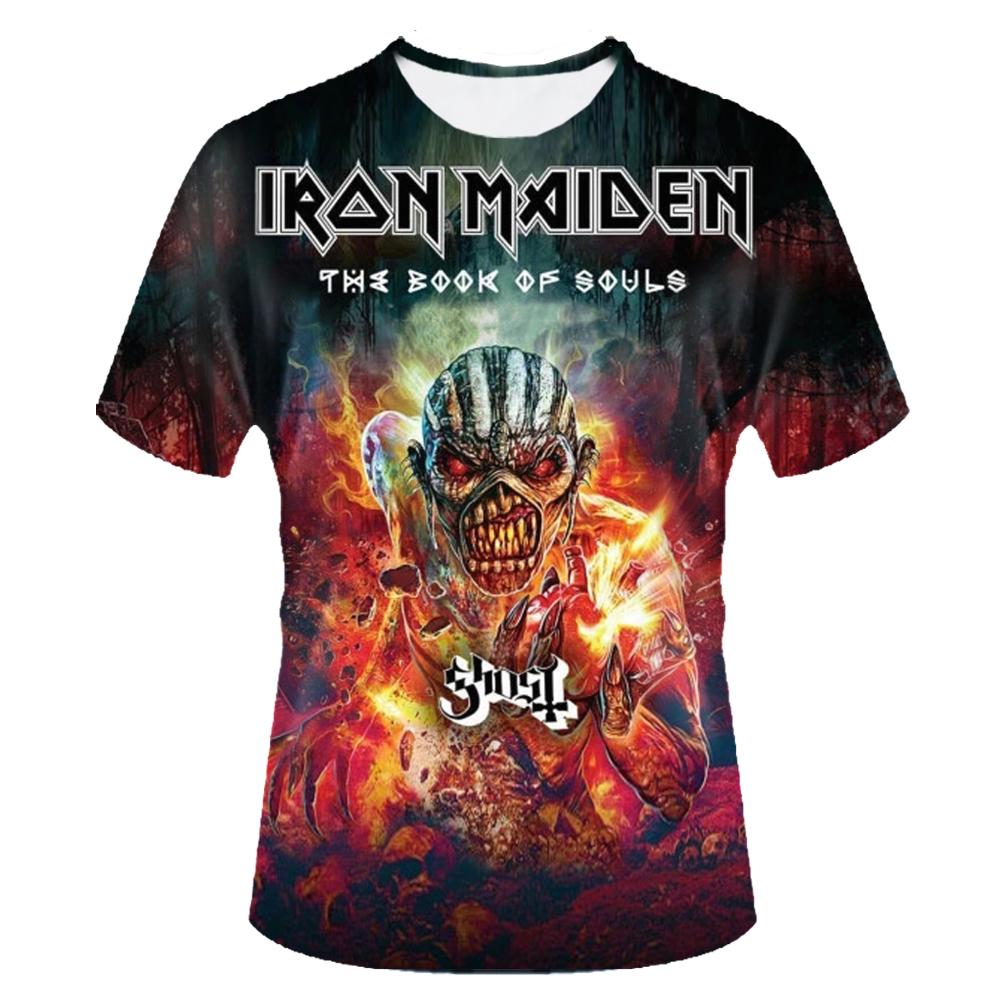 iron maiden shirt the book of souls 3d t shirt men top tee t-shirt male camiseta rock n roll music band 2017 skull tshirt(China (Mainland))