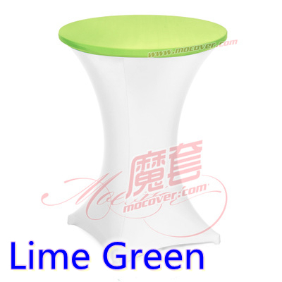 Lime green spandex cocktai table top cover,lycra table top cover for wedding,banquet and party cocktail table decoration(China (Mainland))