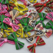 300pcs tartan plaid Gingham Ribbon Bows Flower Appliques Lots Upick B234