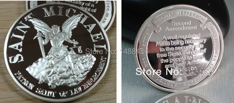 2 PCS/LOT wholesale ST MICHAEL PATRON SAINT NRA SECOND SILVER CHALLENGE 999 FINE SILVER PLATED -COIN/MEDAL(China (Mainland))