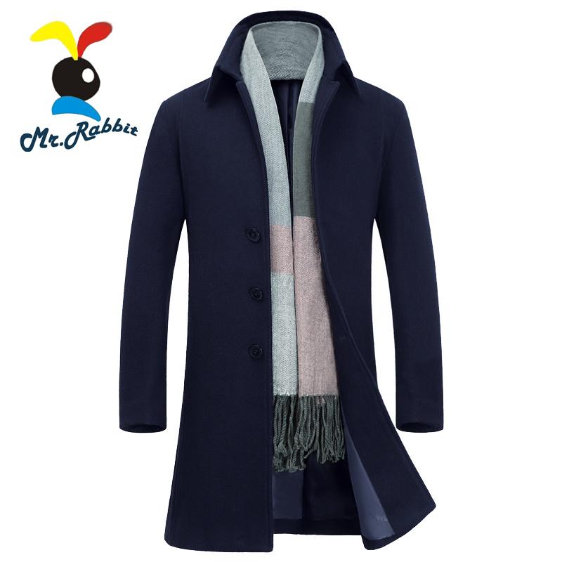 Mr.Rabbit gifts Mens Wool Trench Coats,Male Warm Long Wool Blended Coat Jacket Woollen Coat Cashmere Coat OuterwearÎäåæäà è àêñåññóàðû<br><br>