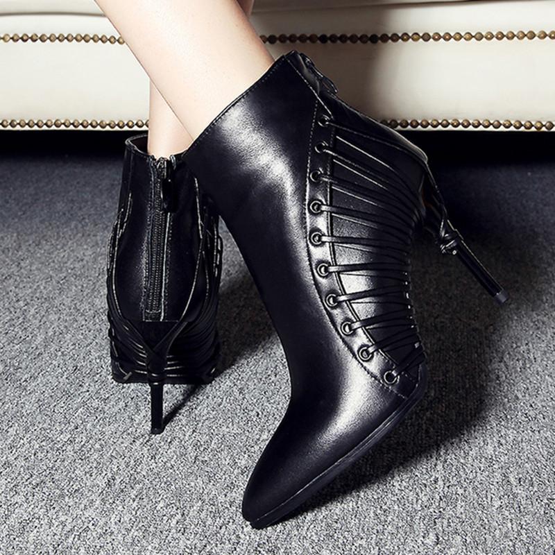 Здесь можно купить  New arrive plus size 33-43 pointed toe stiletto high heels women autumn boots fashion genuine leather boots zipper ankle boots  Обувь