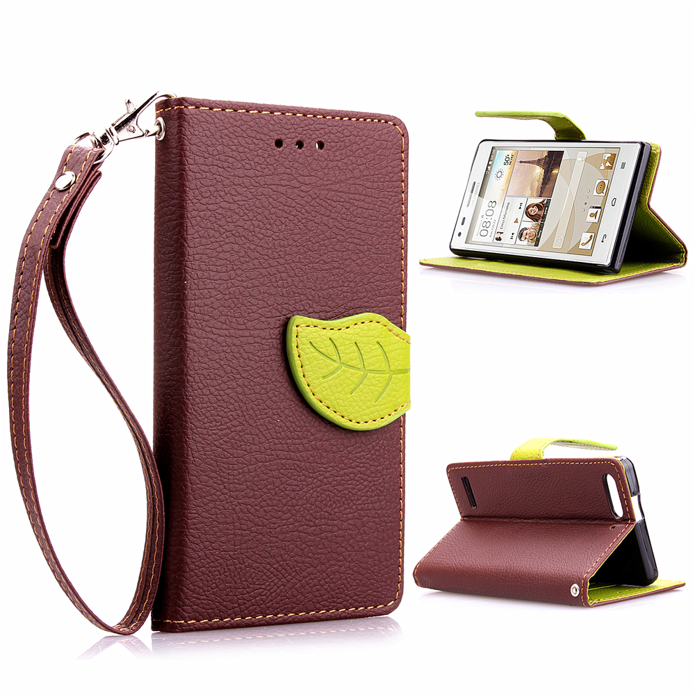 For Huawei G6 Case Leaf PU Leather Magnetic Flip Stand Cover For Huawei Ascend G6 Wallet Stand Handbag Cell Phone Cases(China (Mainland))
