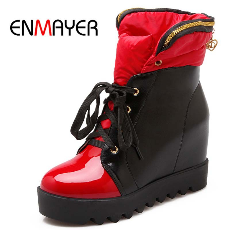 ENMAYER New  Shoes Boots Morden Ribbons Ankle Boots Fashion Round Toe Elegant Lace Up Short Shoes Classical Platform Boots Sale<br><br>Aliexpress