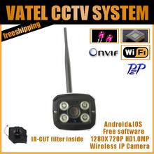CCTV IP Camera HD 1.0MP 720P Wifi Camera IP Network P2P Onvif Wirless Security Camera Waterproof Night Vision free shipping(China (Mainland))