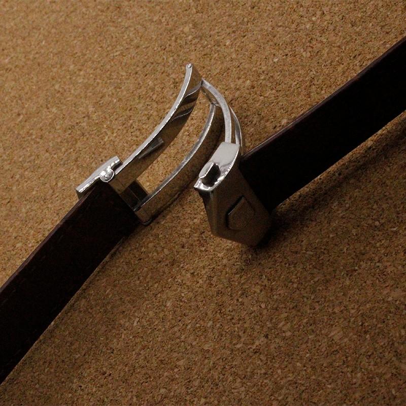 1 шт. 19 мм 20 мм 22 мм Новый МУЖЧИНЫ Ремешок Черный Коричневый Кожаный Ремешок Серебряный Бабочка Развертывания Застежка ремень оптовая цена