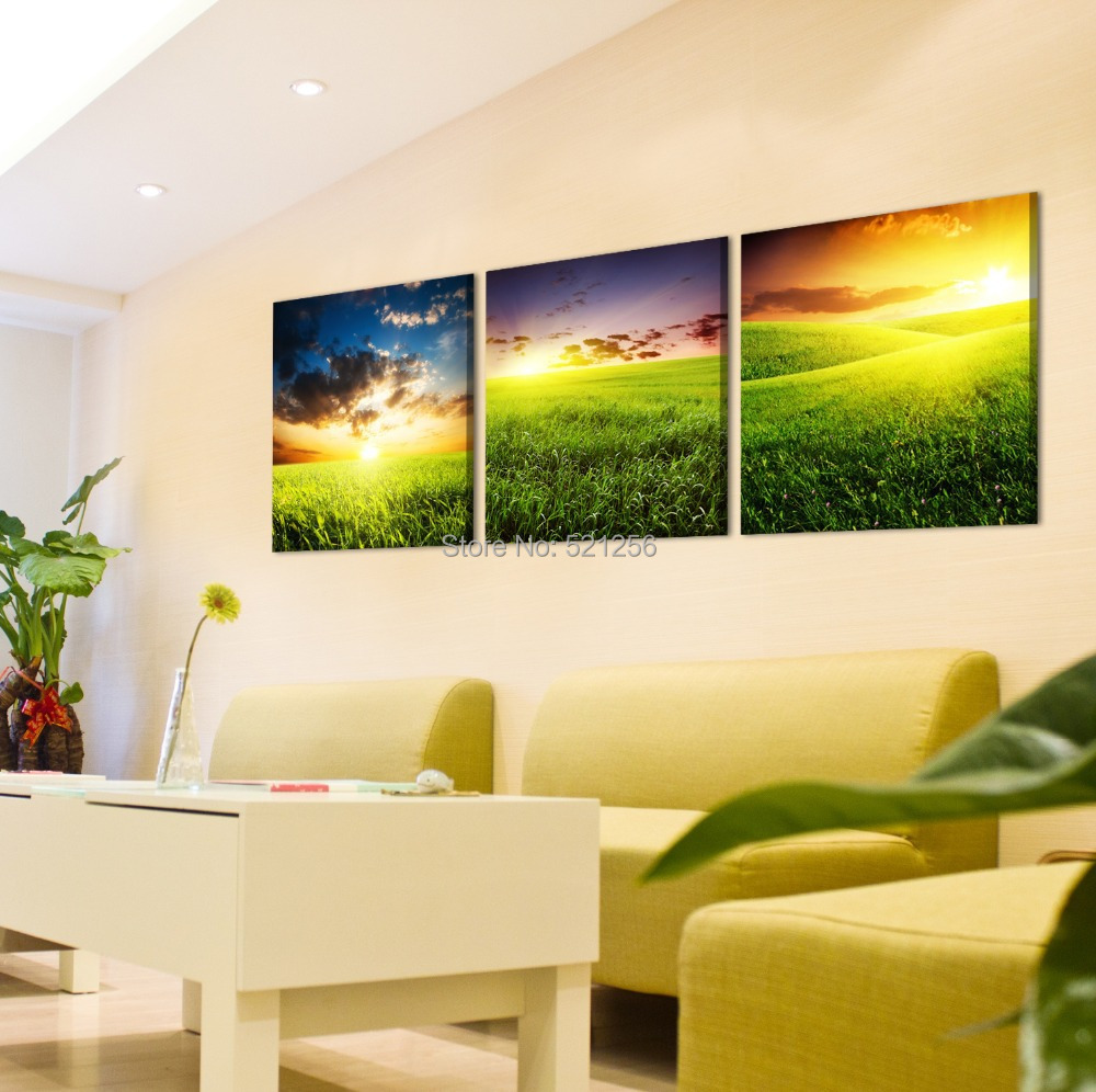 Modern Wall Art Home Decoration Printed Oil Painting Pictures No Frame Canvas Prints 3 Panel Green Wheat Field Sunrise Scenery(China (Mainland))