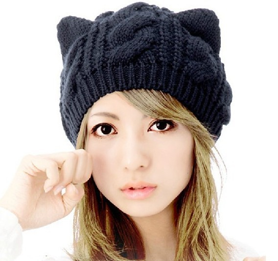 2013 Autumn and winter freeshipping Wool knitted fashion winter caps with cat ears Women fashion accessories(China (Mainland))