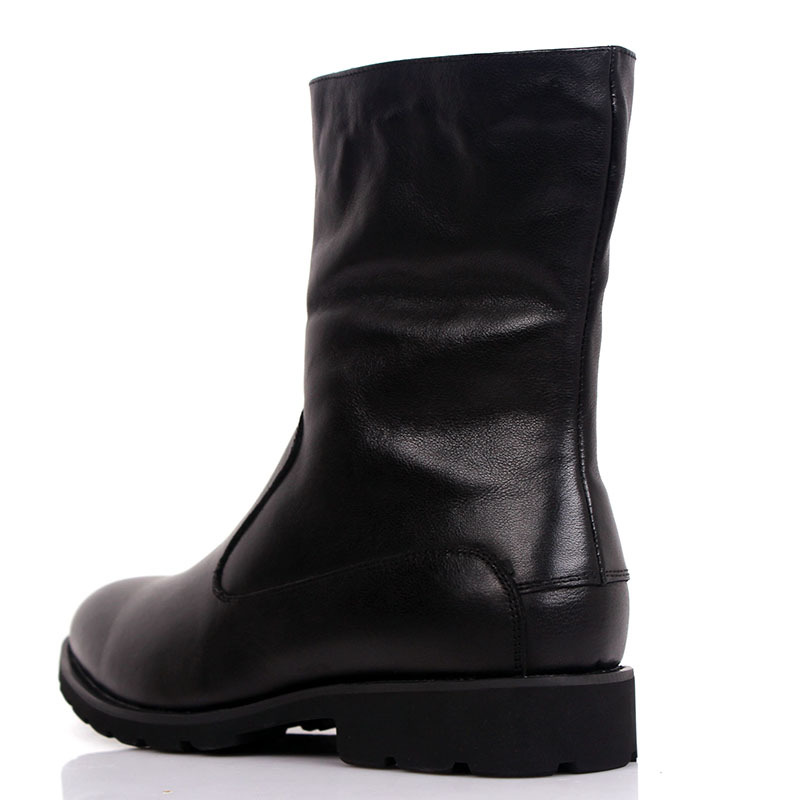 2016 Winter Luxury Vintage Fashion Motorcycle Mens Genuine Leather Boots Black Casual Men Shoes for Winter Snow Boots