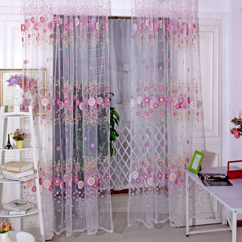 Brand New Curtains Sunflower Printed Voile Door Window Balcony Sheer Screening Curtains Green Pink Free Shipping(China (Mainland))