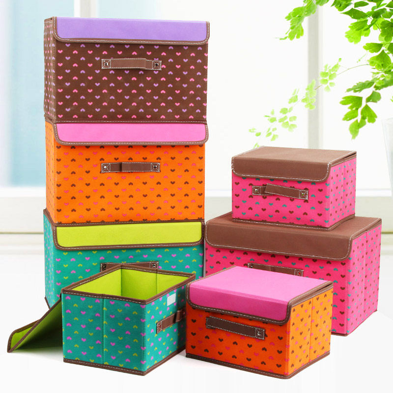Non woven fabric storage box large clothes toy box with cover folding box closet organizer(China (Mainland))