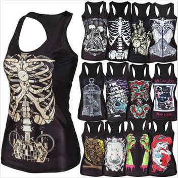 DROP SHIPPING new 2014 women shirt Painting Cool Pattern 3D Skull bone Camisole Sexy print Vest Tanks Tops Drop shipping(China (Mainland))