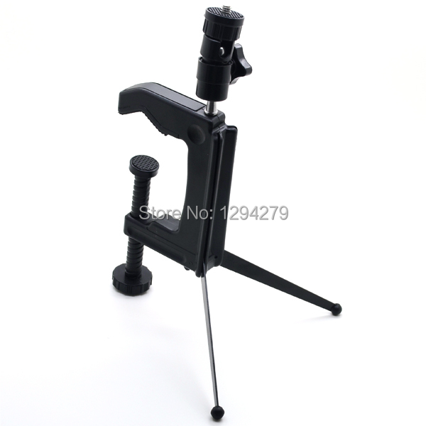 Swiveling clamp tripod desktop mini C-Clamp tripod stand spider for camera camcorder DSLR Free Shipping VK9hD(China (Mainland))