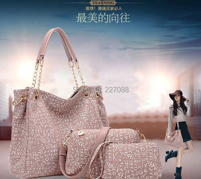 free shipping Vogue of new fund of 2014 joker printing recreation lash bag handbag three-piece buy have three(China (Mainland))