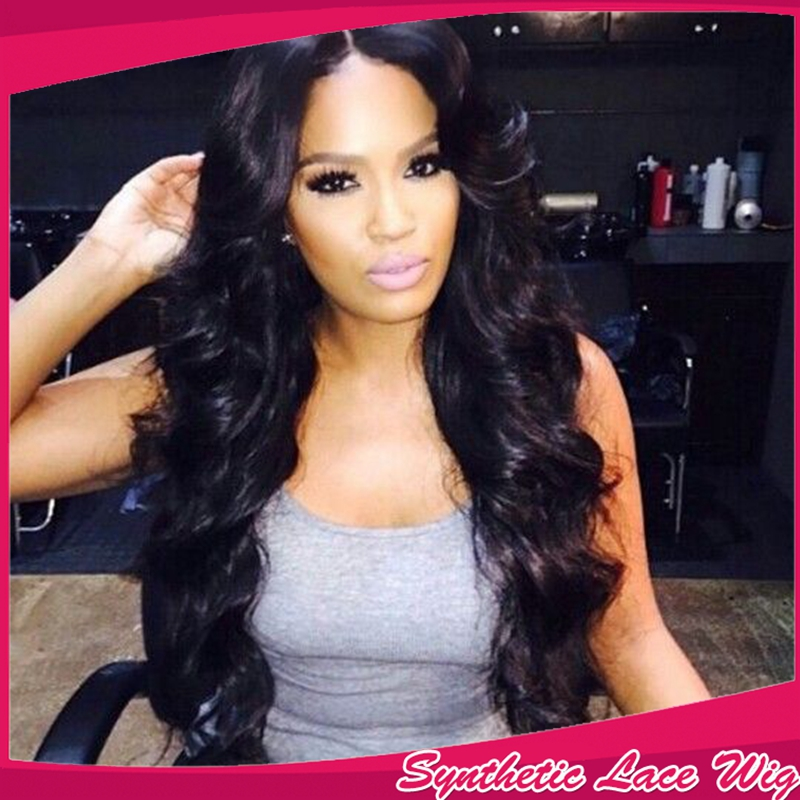 Fashion Long Bouncy Soft Bodywave Natural Black Synthetic Lace Front Women Wigs<br><br>Aliexpress