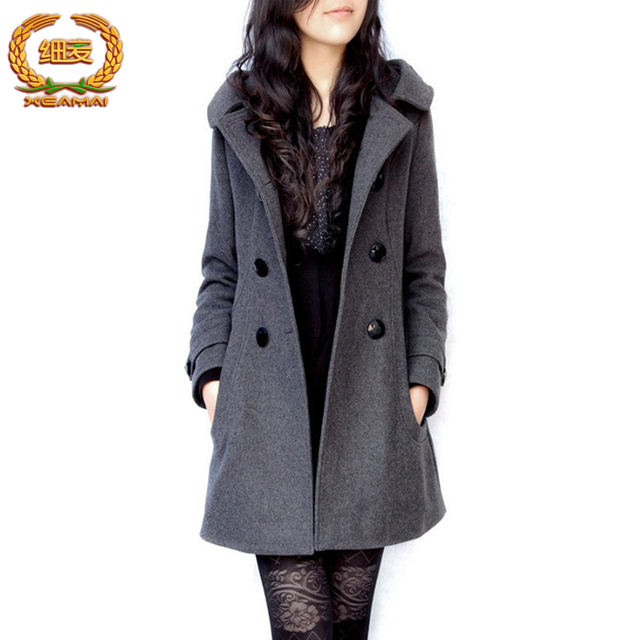 Длинные пальто зимняя куртка женщин женский Смеси шерстяные теплое пальто femininos плюс размер дамы черный Одежда 4XL 5XL 6XL