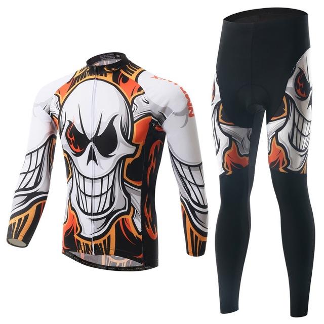 2016 Orange Man Skull Cycling Top Bike Long Sleeve Sportswear Cycling Clothing Jersey + Pants