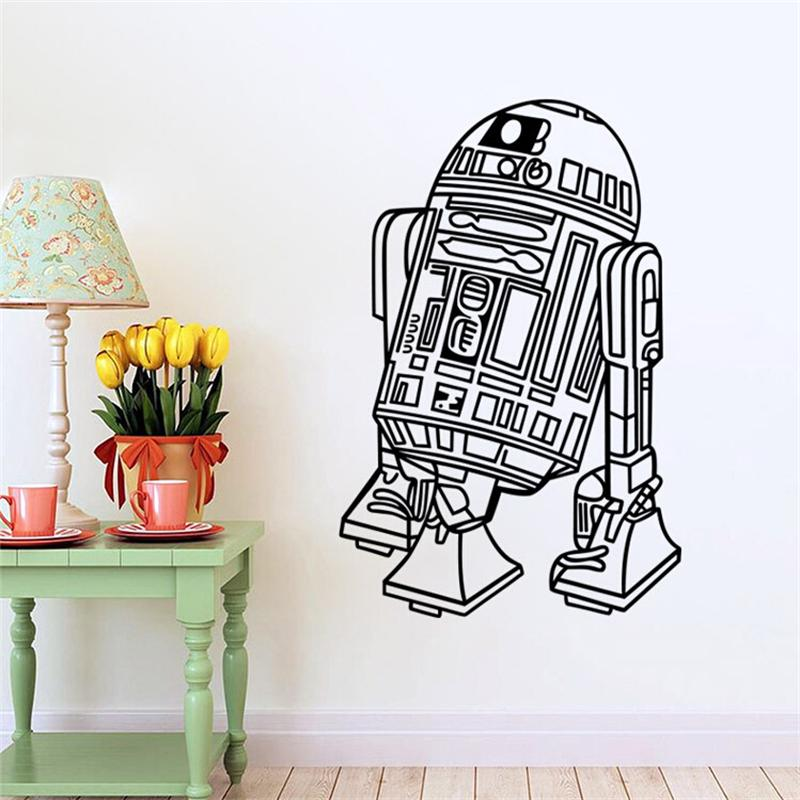 Art Design Star Wars robot Wall Sticker PVC Kids Bedroom wallpaper Removable Wall Stickers(China (Mainland))