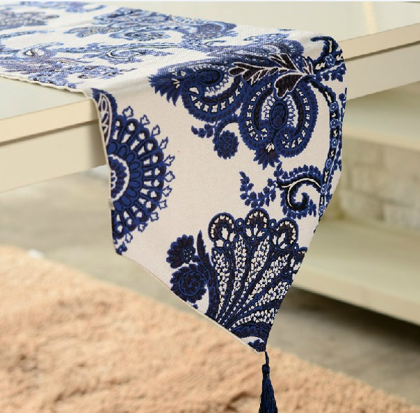 #62 luxury matel fashion china blue printed design table& dinner runner table mat freeshipping(China (Mainland))