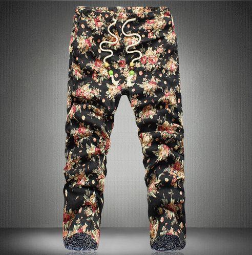 Flower Printed Pants Pants Men Floral Print