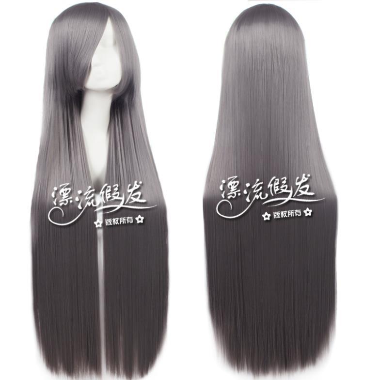 1 meters 80cm straight hair cosplay wig silver grey Dark gray cos wig