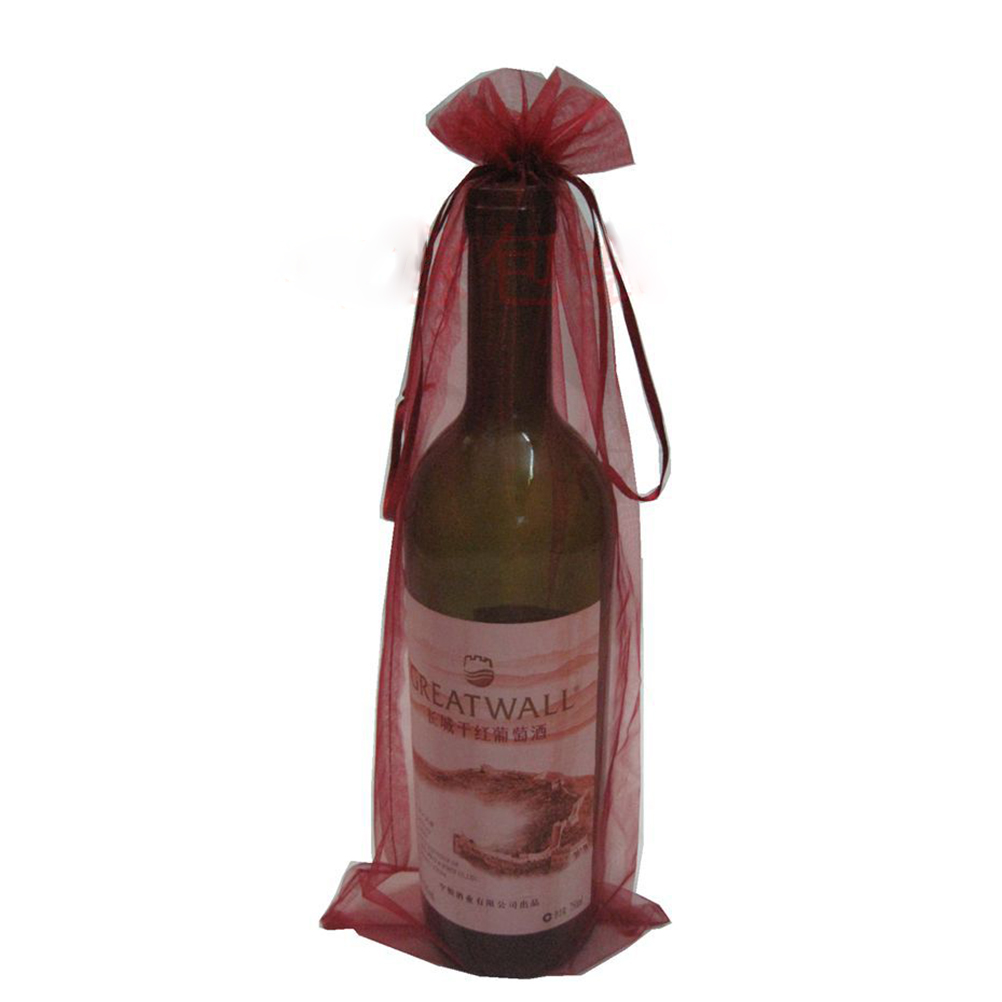 10pcs Sheer Organza Wine Bottle Cover Wrap Gift Bags Hat Cap Holiday Party New Years Free Shipping(Wine Red)(China (Mainland))