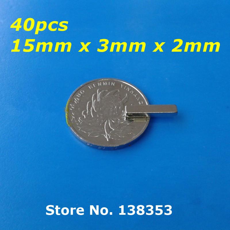 Гаджет  40pcs Bulk Super Strong Neodymium Rectangle Block Magnets 15mm x 3mm x 2mm N35 Rare Earth NdFeB Rectangular Cuboid Magnet None Строительство и Недвижимость