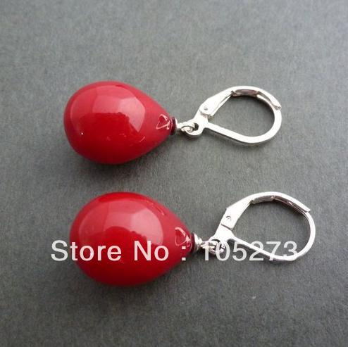 New Arriver Shell Drop Earrings 12x16mm Red Color Sea Shell Pearl Teardrop Earring 925 Silver Tone Clip Closure Free Shipping<br><br>Aliexpress