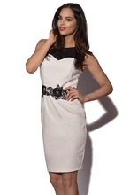 Elegant Womens Summer Casual Dress Sleeveless Knee-Length O-Neck Patchwork Lace Waist Embroidery Bodycon Office Club Dresses