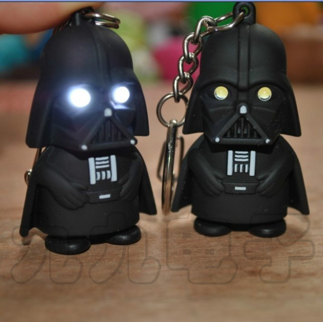 LED Flashlight keychain Darth Vader star war Anakin Skywalker figure keychains Mobile Phone Straps(China (Mainland))