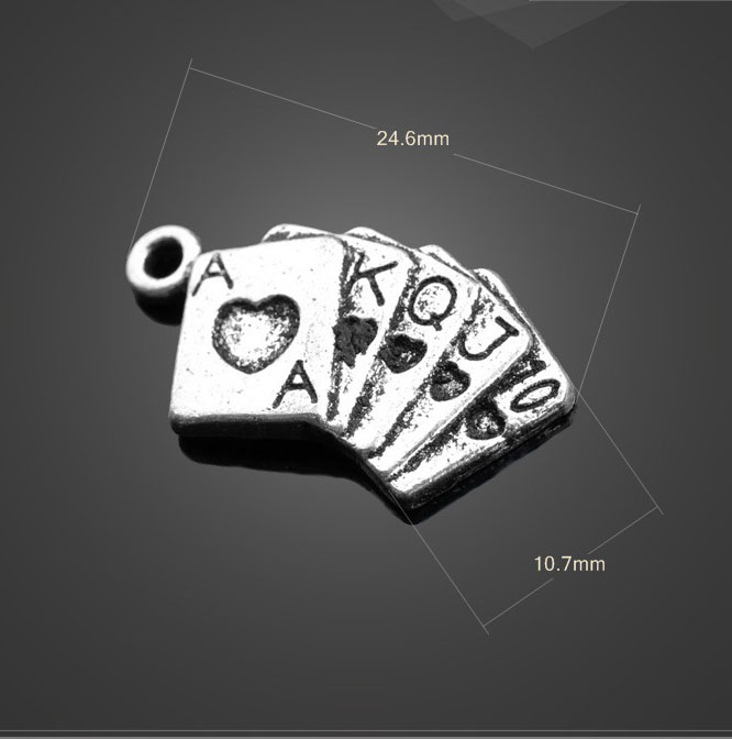 30 PCS/Lot 10.7mm*24.6mm jewelry handmade antique silver tibetan silver poker gamble charms(China (Mainland))