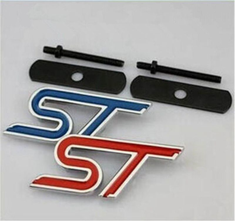 Car Styling ST 3D Metal Front Hood Grille Badge Grill Emblem Auto Stickers Car Accessories For Ford Focus Red/Black/Blue(China (Mainland))