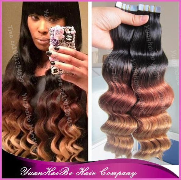 Фотография Best Quality 7A! three tone #1b/33/27 peruvian loose wave virgin skin weft ombre tape hair extensions, 300gram, free shipping