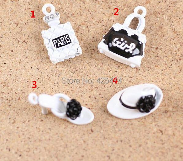 Free Shipping 40PCS/lot Perfume woman Handbag High Heel Shoe Hat Shape White Color Plated Metal Jewelry DIY Bracelet Charm(China (Mainland))