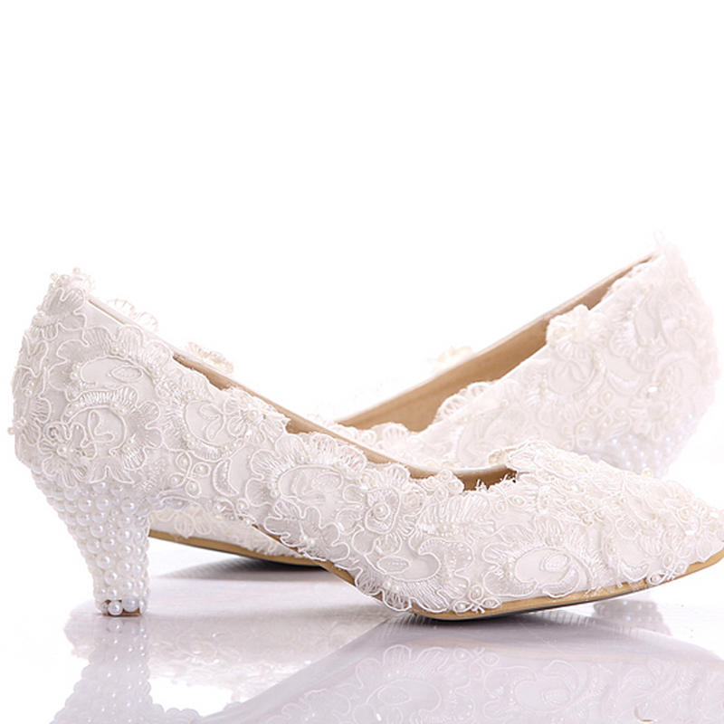 Buy white lace low heel wedding bridal for Low heel dress shoes wedding