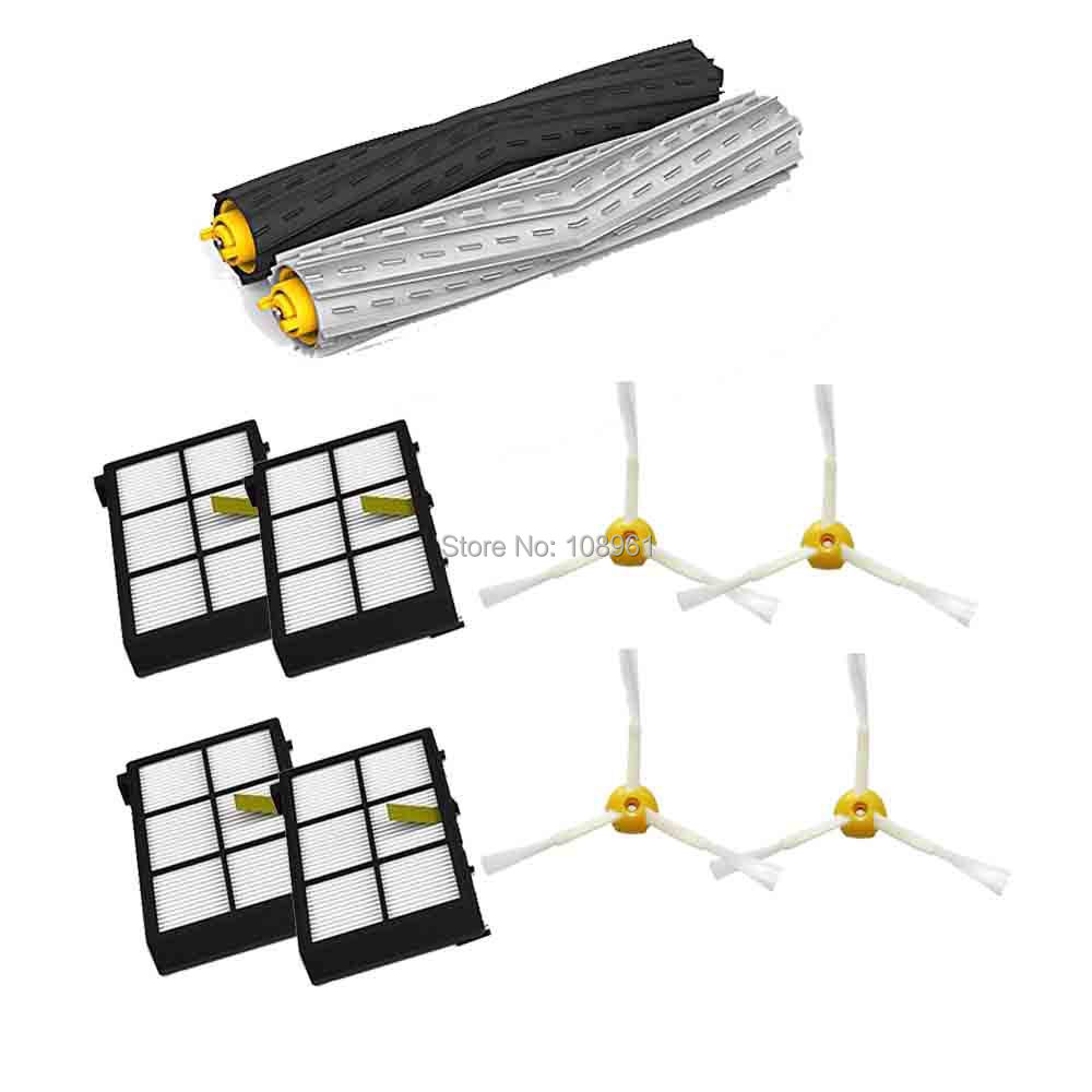 Tangle-Free Debris Extractor Set &4*HEPA Filter & 4*Side Brushes Replacement For iRobot Roomba 800 series 870 880 Vacuum Cleaner(China (Mainland))