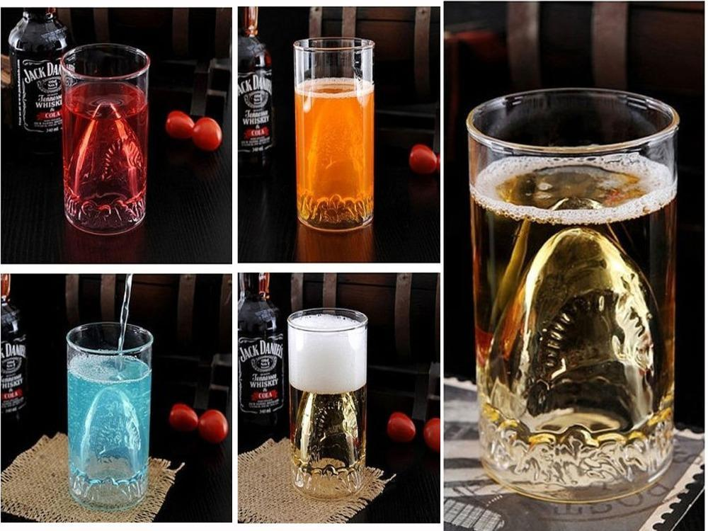 350ml Novelty Shark Cup Creative Innovative New Strange Gift Transparent Glass Coffee Mug(China (Mainland))