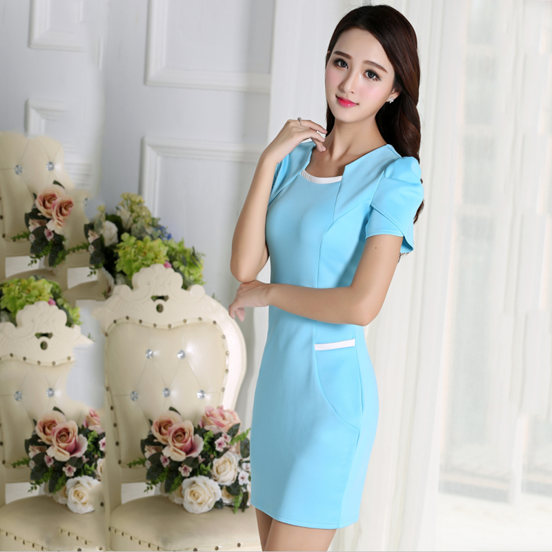 Womens Summer New Short Sleeve Elegant Patchwork Slim Work Business Attire Casual Party Sheath Pencil Dress(China (Mainland))
