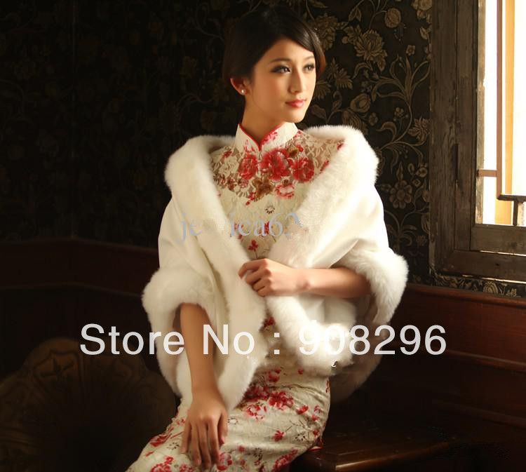 Q0003 Luxury Bridal Wraps & Jackets Long Faux Fur In Store Formal Occasion Bolero Weding Wrap White Bridal Shawl(China (Mainland))