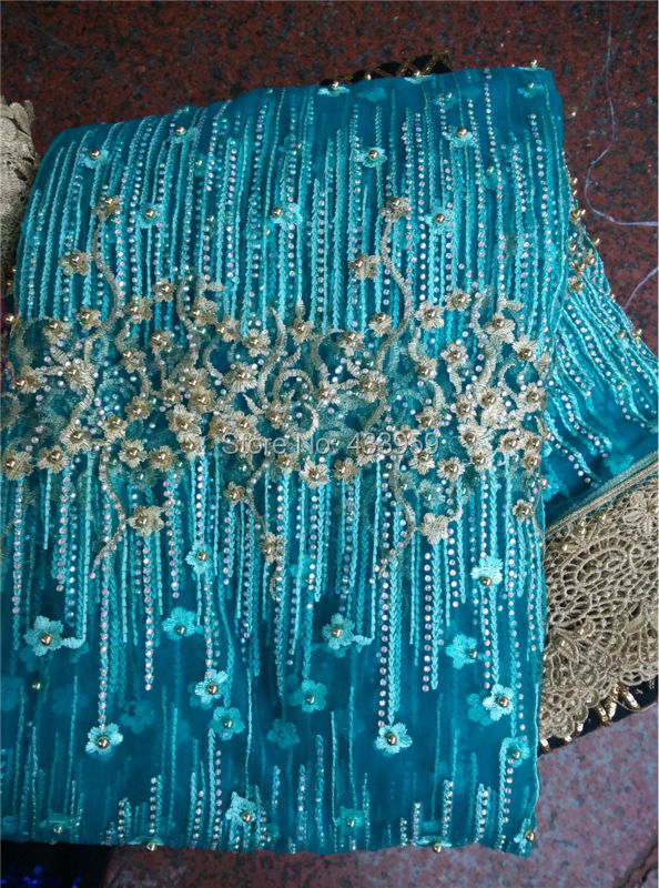 ADF32-2 Embroidered African Tulle Lace Fabric With Stones And Beads For Wedding Dress,Hight quality Polyester French Net Lace(China (Mainland))