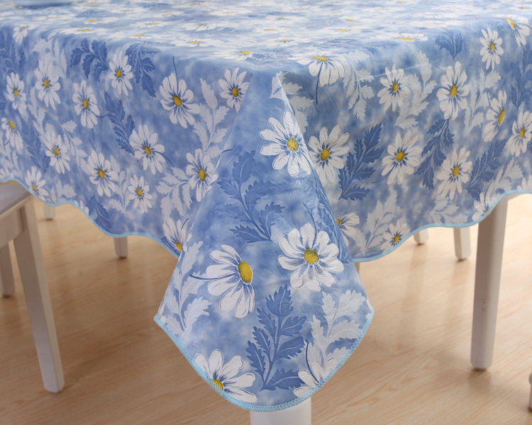 Flowers blue ocean waves catcher oil pvc waterproof disposable tablecloths, tea table cloth printing(China (Mainland))