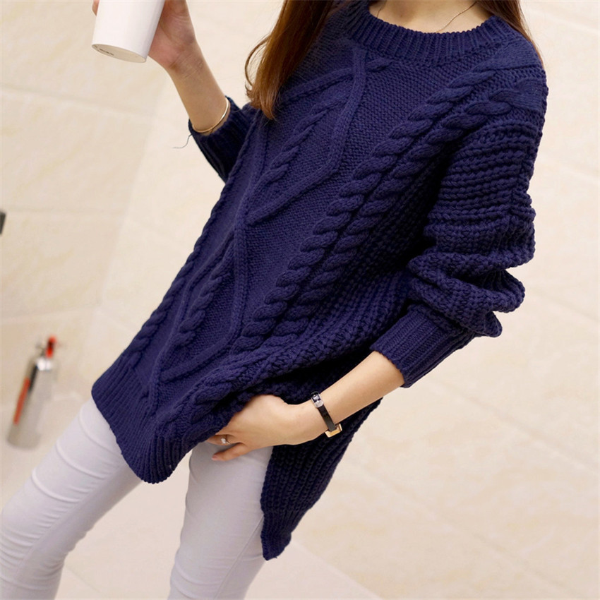 2016 New Women Sweater Spring Autumn Fashion Vintage Twisted Loose Split Hem Crocheted Pullover Casual Knitted Jumper Pull Femme(China (Mainland))