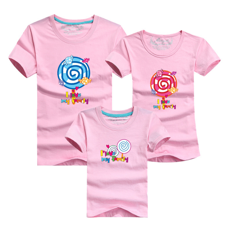 11 Colors 100 Cotton Family Matching Clothing Father Mother Daughter Son Summer Tops Tees Candy Pattern