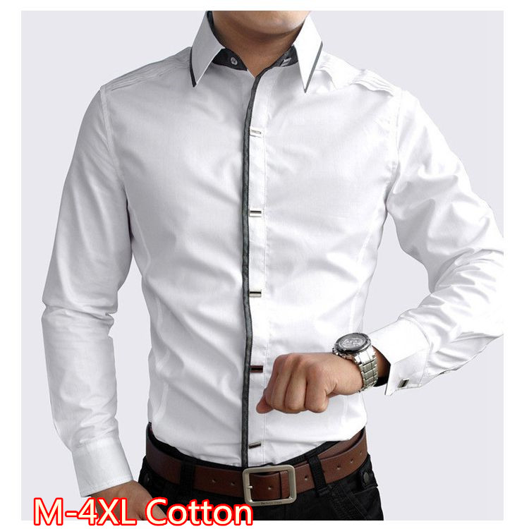 2016 high quality 100 cotton men clothes black and white for Men s 100 percent cotton dress shirts