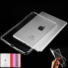 Scolour Hot Soft Gel TPU Skin Silicone Back Case Cover Silk Slim Clear Transparent Smart Back Cover for iPad mini 1 2 3 Retina(China (Mainland))