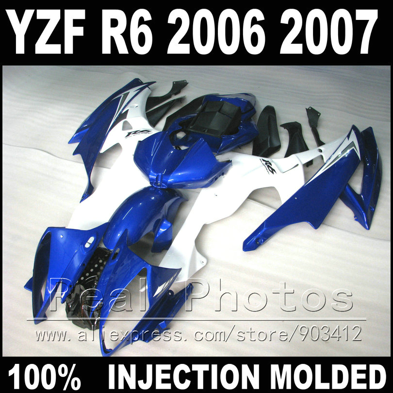 NEW plastic parts for YAMAHA R6 fairing kit 06 07 Injection molding blue white matte black 2006 2007 YZF R6 fairings(China (Mainland))
