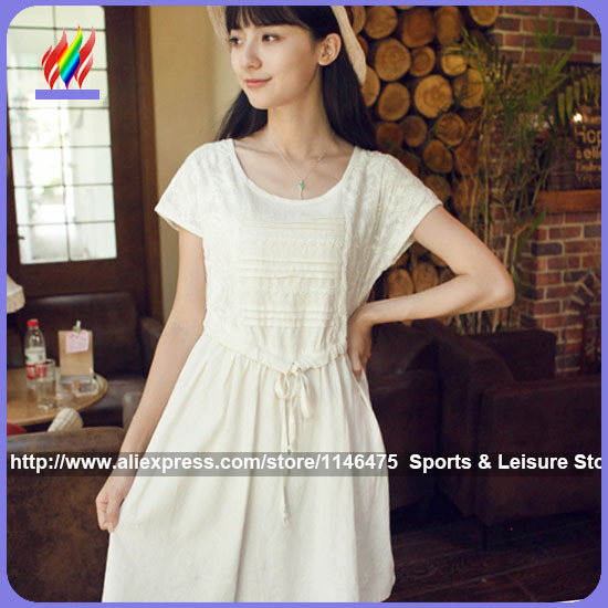 2015 New Arrival Hot Sale Fashion Cute Japanese Clothes Preppy Style Sweet Casual Plus Size White Cotton Linen Summer Dresses(China (Mainland))