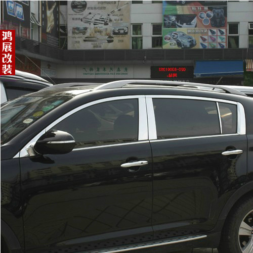 Stainless Steel Auto Car Accessory Full Window Trims  22 pcs Cover For Kia Sportage R 2010-2014