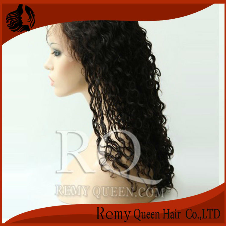 Queen Hair Products 2# Darkest Brown Curly Front Lace Wigs with Stretch Lace Back 8 -24 Brazilian Remy Human Hair 120% Density<br><br>Aliexpress